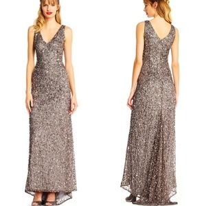 Adrianna Papell sleeveless sequin beaded gown